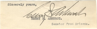 Autographs: HENRY F. ASHURST - CLIPPED SIGNATURE