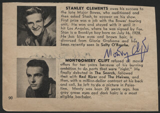 MONTGOMERY CLIFT - DIRECTORY PHOTO SIGNED CO-SIGNED BY: BILL CALLAHAN