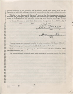 ROD CAMERON - CONTRACT MULTI-SIGNED 06/12/1950 CO-SIGNED BY: MANNING O'CONNOR