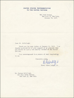 HENRY CABOT LODGE JR. - TYPED LETTER SIGNED 01/16/1956