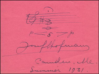 JOSEF C. HOFMANN - AUTOGRAPH MUSICAL QUOTATION SIGNED 1931