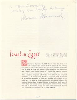 Autographs: MAURICE ABRAVANEL - INSCRIBED PROGRAM SIGNED