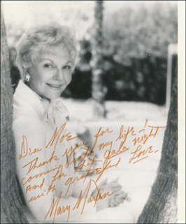 MARY MARTIN - AUTOGRAPH NOTE ON PHOTOGRAPH SIGNED