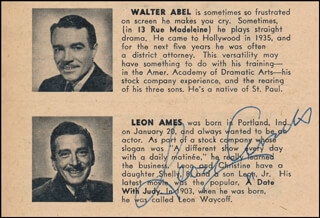 LEON AMES - DIRECTORY PHOTO SIGNED