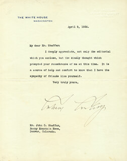 Autographs: PRESIDENT CALVIN COOLIDGE - TYPED LETTER SIGNED 04/09/1926