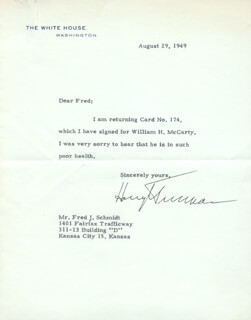 PRESIDENT HARRY S TRUMAN - TYPED LETTER SIGNED 08/29/1949