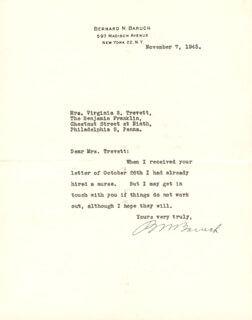 Autographs: BERNARD M. BARUCH - TYPED LETTER SIGNED 11/07/1945