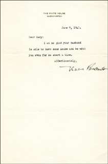FIRST LADY ELEANOR ROOSEVELT - TYPED LETTER SIGNED 06/09/1943