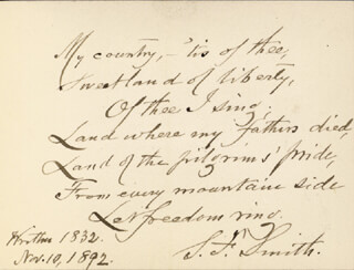 SAMUEL FRANCIS SMITH - AUTOGRAPH POEM SIGNED 11/10/1892