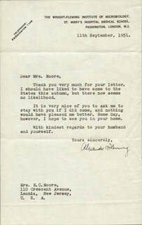 ALEXANDER FLEMING - TYPED LETTER SIGNED 09/11/1951