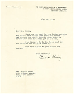 Autographs: ALEXANDER FLEMING - TYPED LETTER SIGNED 05/26/1952