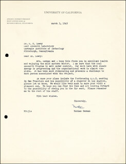 NATHAN BERMAN - TYPED LETTER SIGNED 03/03/1949