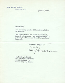 PRESIDENT HARRY S TRUMAN - TYPED LETTER SIGNED 06/27/1949