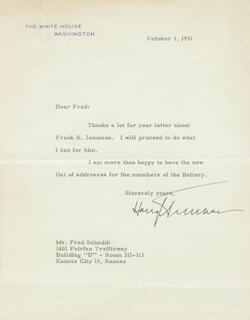 PRESIDENT HARRY S TRUMAN - TYPED LETTER SIGNED 10/01/1951