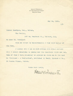 Autographs: ASSOCIATE JUSTICE LOUIS D. BRANDEIS - TYPED LETTER SIGNED 05/24/1915