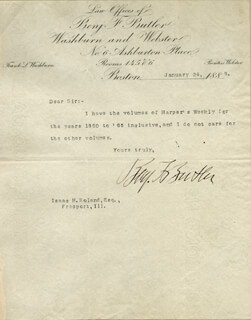 Autographs: MAJOR GENERAL BENJAMIN F. BUTLER - TYPED NOTE SIGNED 01/24/1888