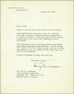 PRESIDENT HARRY S TRUMAN - TYPED LETTER SIGNED 01/20/1951