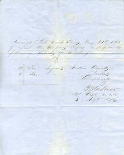 Autographs: MAJOR GENERAL INNES N. PALMER - DOCUMENT SIGNED 05/21/1853