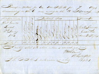 Autographs: MAJOR GENERAL INNES N. PALMER - DOCUMENT SIGNED 01/12/1853