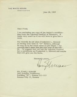 PRESIDENT HARRY S TRUMAN - TYPED LETTER SIGNED 06/28/1949