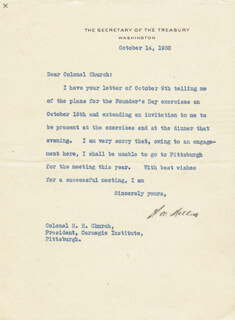 ANDREW MELLON - TYPED LETTER SIGNED 10/14/1930