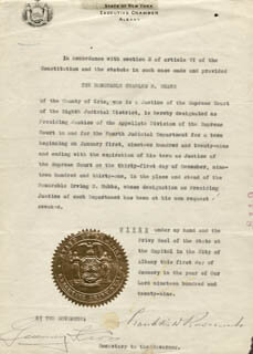Autographs: PRESIDENT FRANKLIN D. ROOSEVELT - CIVIL APPOINTMENT SIGNED 01/01/1929