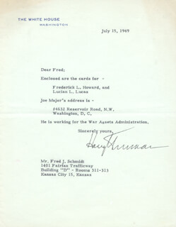 PRESIDENT HARRY S TRUMAN - TYPED LETTER SIGNED 07/15/1949