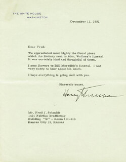 PRESIDENT HARRY S TRUMAN - TYPED LETTER SIGNED 12/11/1952