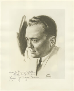 Autographs: J. EDGAR HOOVER - INSCRIBED ILLUSTRATION SIGNED 06/26/1940