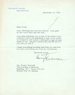 PRESIDENT HARRY S TRUMAN - TYPED LETTER SIGNED 12/12/1950