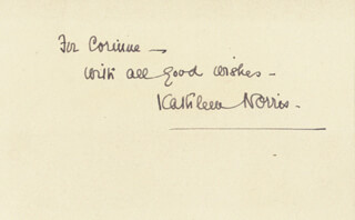 KATHLEEN THOMPSON NORRIS - AUTOGRAPH NOTE SIGNED