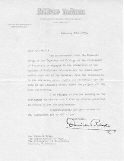 DAVID BELASCO - TYPED LETTER SIGNED 02/11/1931