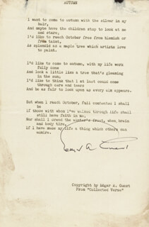 EDGAR A. GUEST - POEM SIGNED