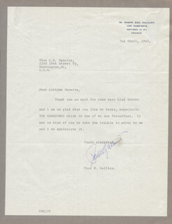 PAUL W. GALLICO - TYPED LETTER SIGNED 03/02/1963