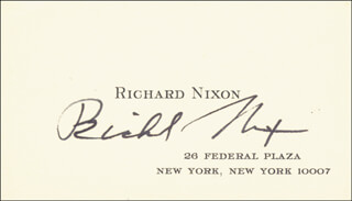 PRESIDENT RICHARD M. NIXON - BUSINESS CARD SIGNED