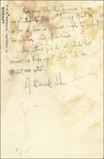 Autographs: GEORGE BERNARD SHAW - AUTOGRAPH NOTE SIGNED 12/06/1924
