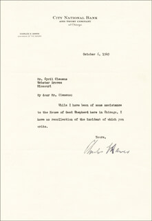 VICE PRESIDENT CHARLES G. DAWES - TYPED LETTER SIGNED 10/06/1949