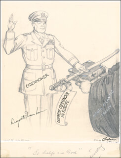 Autographs: PRESIDENT DWIGHT D. EISENHOWER - ORIGINAL ART SIGNED CIRCA 1953 CO-SIGNED BY: SVOBODA