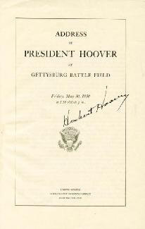 PRESIDENT HERBERT HOOVER - PRINTED SPEECH SIGNED IN INK CIRCA 1930