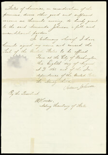 PRESIDENT ANDREW JOHNSON - PARDON SIGNED 08/08/1868 CO-SIGNED BY: WILLIAM HUNTER