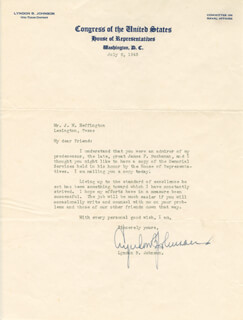 PRESIDENT LYNDON B. JOHNSON - TYPED LETTER SIGNED 07/06/1943