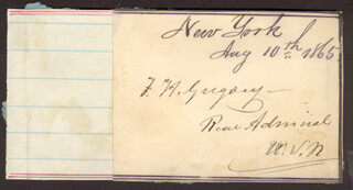 Autographs: REAR ADMIRAL FRANCIS H. GREGORY - SIGNATURE(S) 08/10/1865