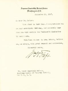 PRESIDENT WILLIAM H. TAFT - TYPED LETTER SIGNED 09/30/1927
