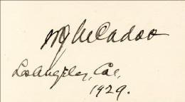 WILLIAM G. McADOO - AUTOGRAPH 1929