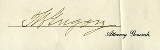 Autographs: THOMAS W. GREGORY - SIGNATURE(S)