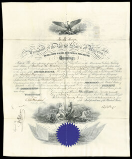PRESIDENT RUTHERFORD B. HAYES - NAVAL APPOINTMENT SIGNED 11/27/1877 CO-SIGNED BY: WILLIAM P. MORAN, RICHARD W. THOMPSON