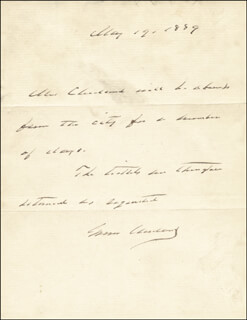 PRESIDENT GROVER CLEVELAND - AUTOGRAPH NOTE SIGNED 05/14/1889