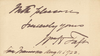 PRESIDENT WILLIAM H. TAFT - AUTOGRAPH SENTIMENT SIGNED 08/11/1922