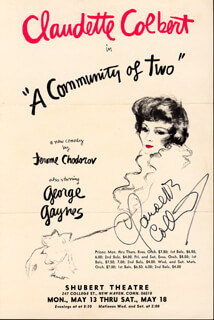CLAUDETTE COLBERT - FLYER SIGNED