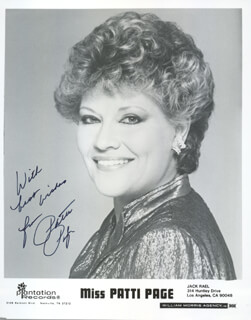 PATTI PAGE - AUTOGRAPHED SIGNED PHOTOGRAPH